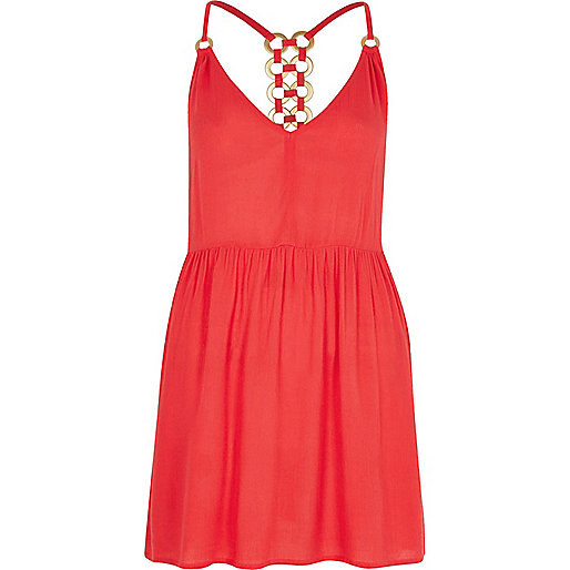 Coral ring back cami swing dress