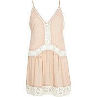 Pink lace drop waist cami beach dress