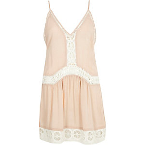 Pink lace drop waist cami beach dress