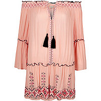 Light pink embroidered bardot beach dress