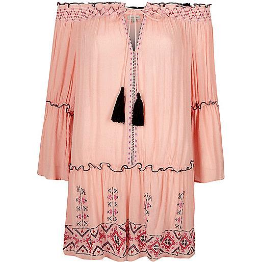 Light pink embroidered bardot beach dress