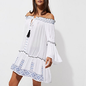 White embroidered shirred bardot beach dress
