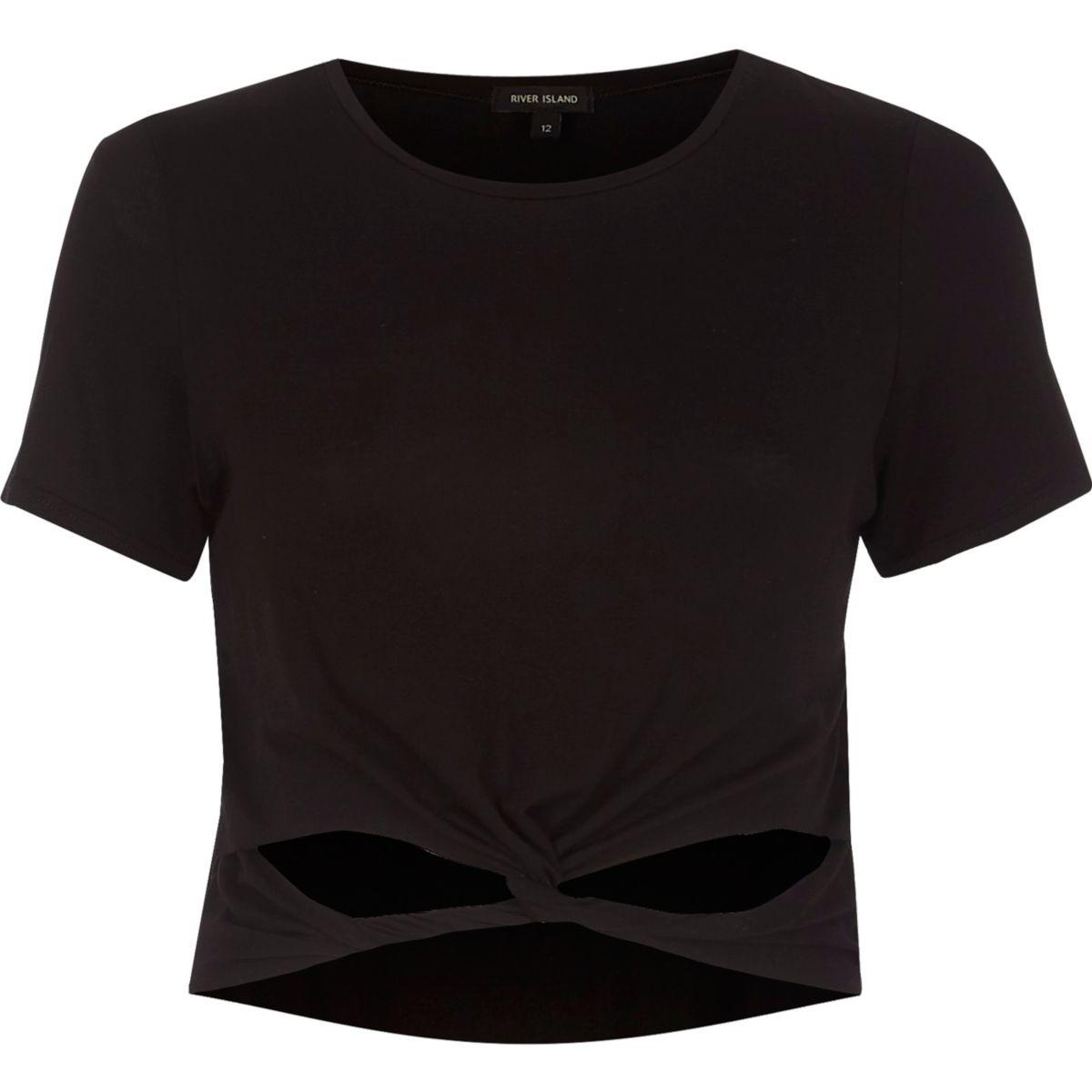 Black twist front short sleeve crop top