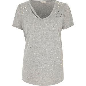 Grey marl slash neck distressed T-shirt