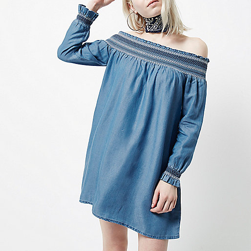 Petite blue shirred bardot long sleeve dress