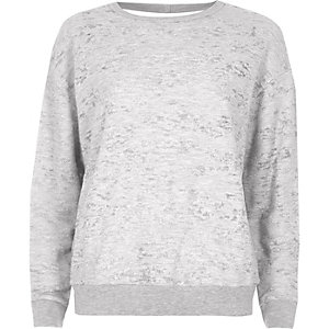 Grey burnout cut out back sweatshirt