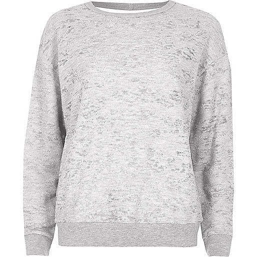 Grey burnout cut out back sweatshirt