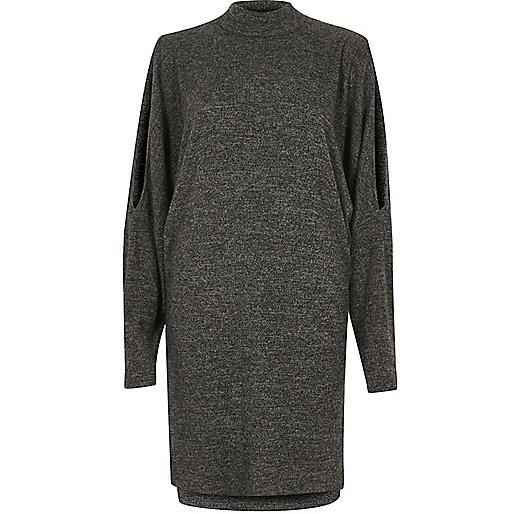 Charcoal split shoulder dress