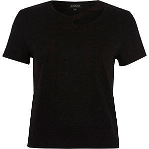 Black slash neck fitted T-shirt
