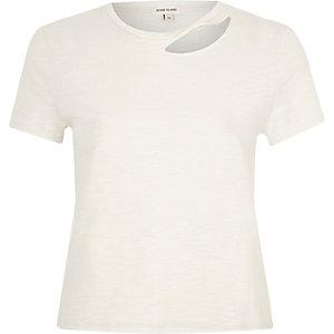 White slash neck fitted T-shirt