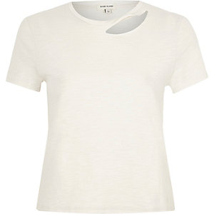 White slash neck fitted T-shirt