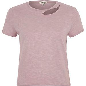 Light purple slash neck fitted T-shirt