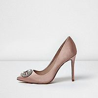 Light pink satin embellished pumps