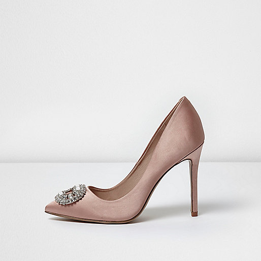 Light pink satin embellished pumps