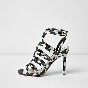 Khaki green stripe caged sandals