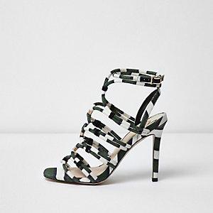 Sandales rayées vert kaki effet cage