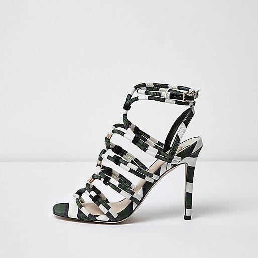 Khaki green stripe caged sandals