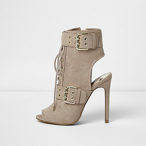 Beige eyelet buckle lace-up shoe boots