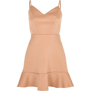 Light pink frill hem cami mini dress