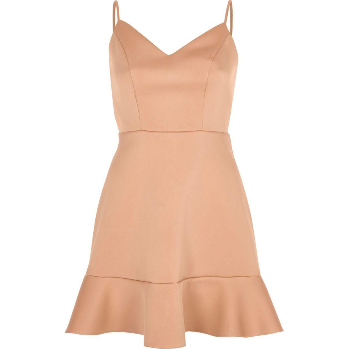Light pink frill hem cami mini dress