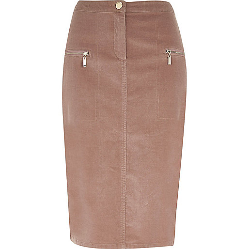 Dusty pink cord zip pocket midi pencil skirt