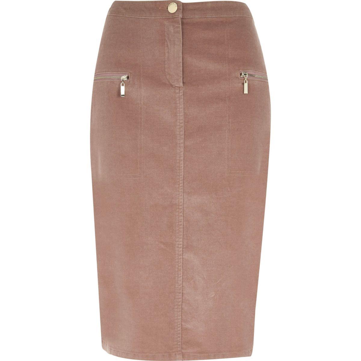 Dusty pink cord zip pocket midi pencil skirt