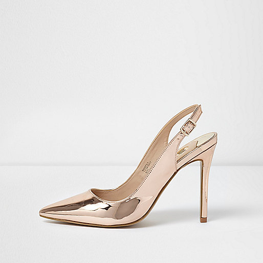 Gold metallic slingback pumps