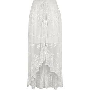 White mesh asymmetric high-low hem maxi skirt