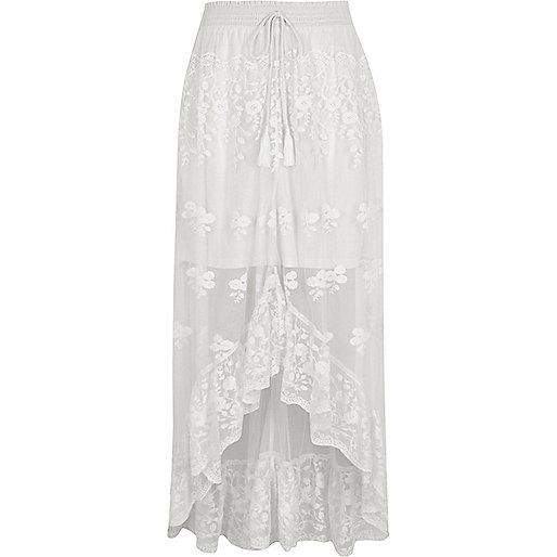 White mesh asymmetric high-low hem maxi skirt