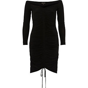 Schwarzes Bodycon-Kleid mit Raffungen