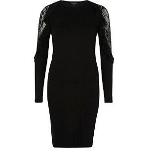 Black lace frill bodycon dress