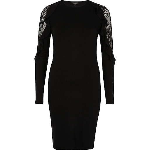 Black lace frill bodycon dress