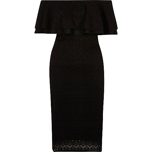 Black lace frill bardot dress