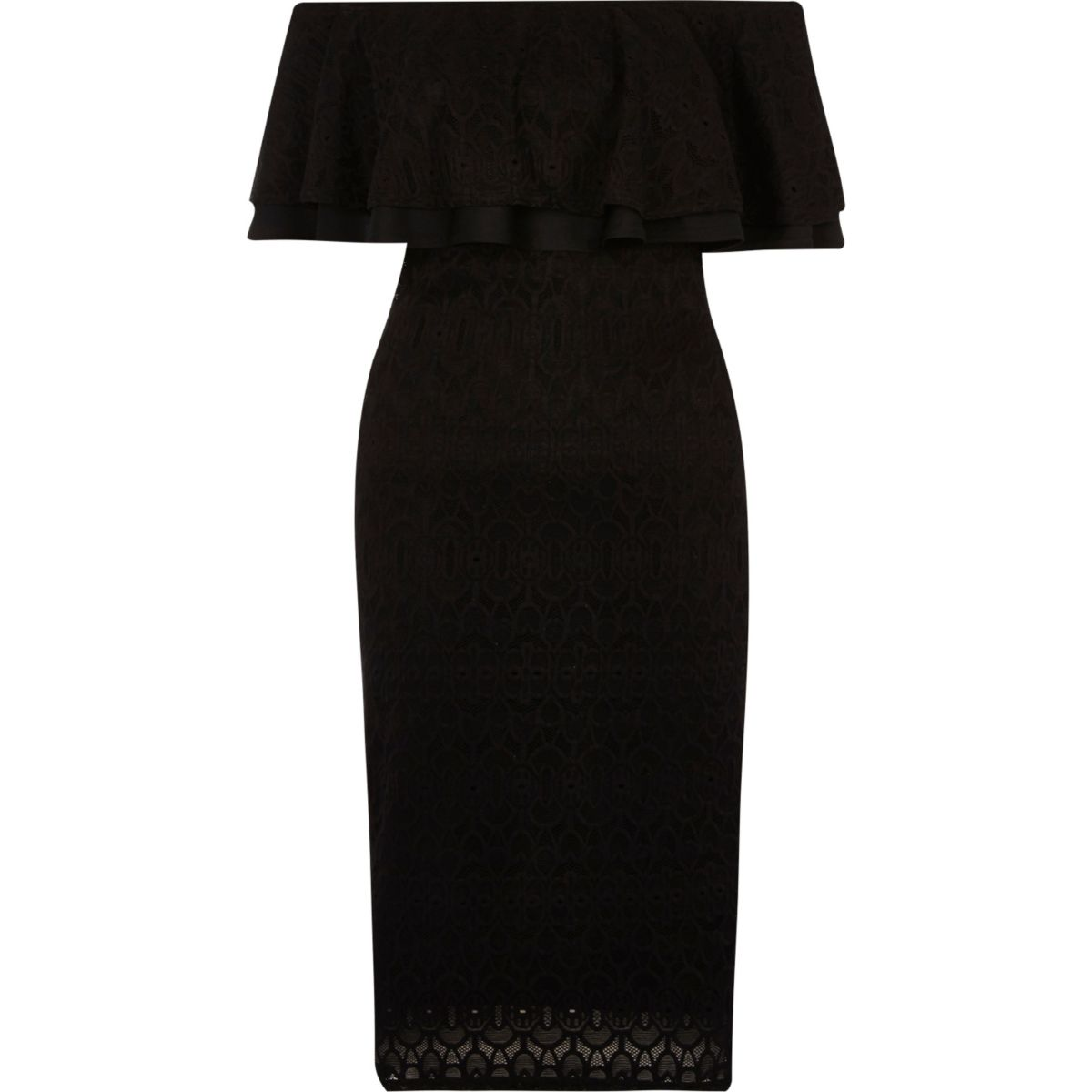 Black lace frill bardot dress