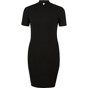 Black ribbed oriental collar dress