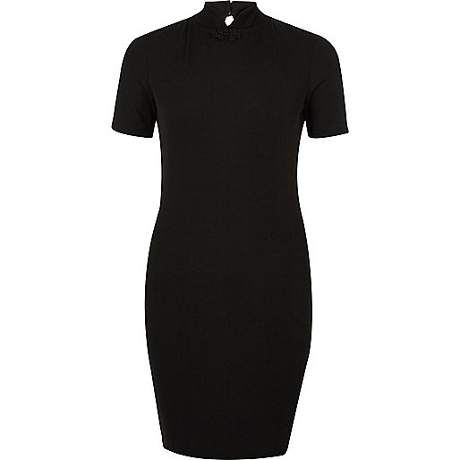 Black ribbed oriental collar dress