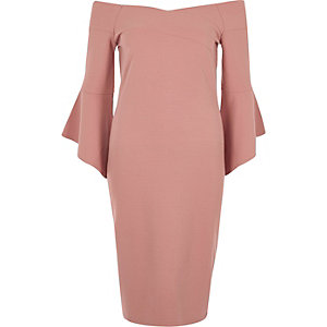 Pink bell sleeve bardot bodycon midi dress