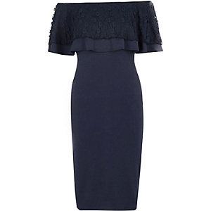 Navy lace frill bardot bodycon midi dress