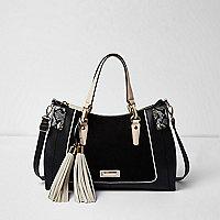 Schwarze Tote Bag mit strukturiertem Einsatz