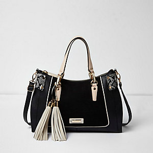 Black curve structured panel tote bag