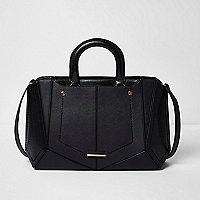 Schwarze, kastenförmige Tote Bag
