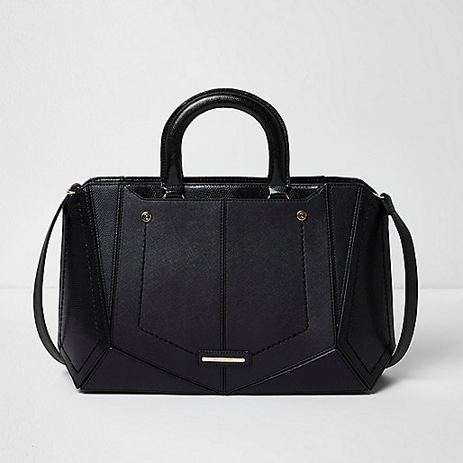 Black boxy panelled tote bag