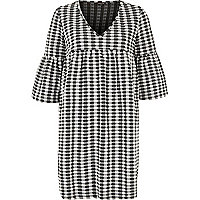 Black and cream gingham smock dress