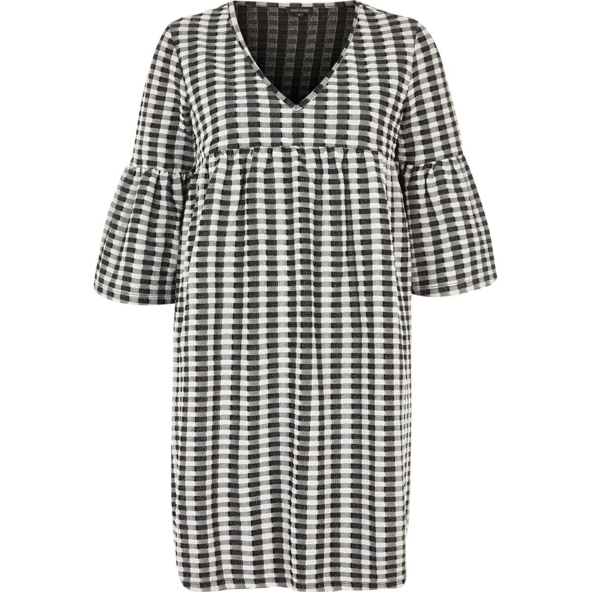 Black and cream gingham smock dress