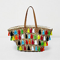 Beige multicolour tassel large beach bag