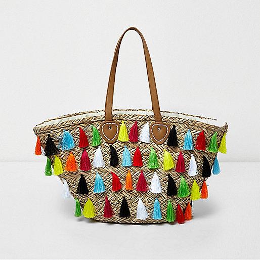 Beige multicolour tassel large beach bag - Shopper & Tote Bags ...