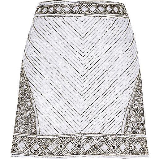 White embellished mini skirt