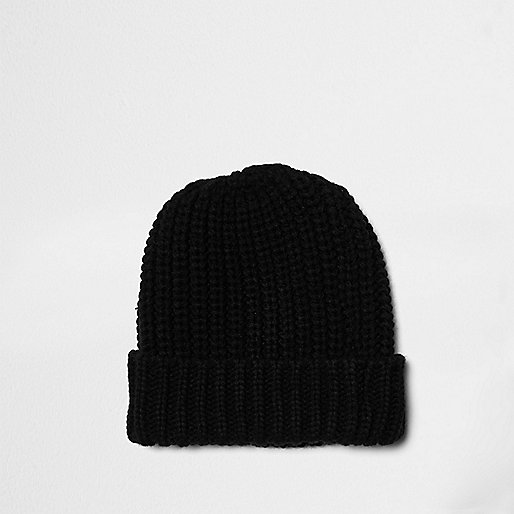 Black knitted beanie hat