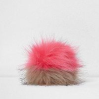 Mütze mit Bommel in Pink und Grau