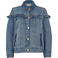 Blue wash frill denim jacket